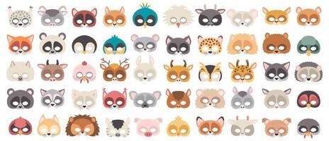 set di maschere di oggetti di scena per cabine fotografiche di animali selvatici e domestici. vettore
