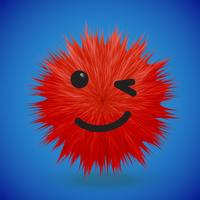 Emoticon di smiley alta dettagliati della pelliccia 3D, illustrazione di vettore