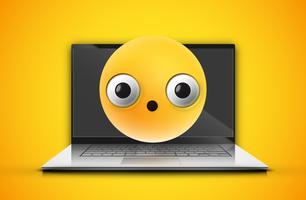 Emoticon alto-dettagliato su uno schermo del taccuino, illustrazione di vettore