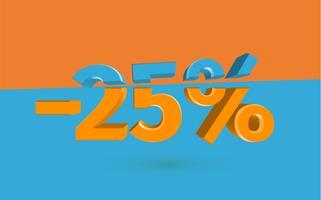 Illustrazione di vendita 3D con percentuale di taglio, vettoriale