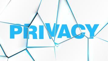 Parola di 'PRIVACY' su una superficie bianca rotta, illustrazione vettoriale