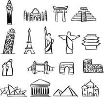 set di icone di monumenti famosi in tutto il mondo vettore