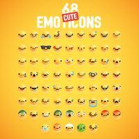68 diversi emoticon carino dettagliato alto impostato per il web, illustrazione vettoriale