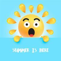"""Divertente sorriso solare con il titolo """"L'estate è qui"""" vettore"""