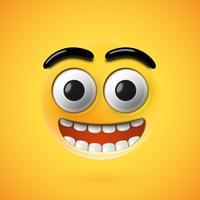 Emoticon felice altamente dettagliato, illustrazione di vettore