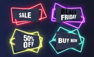 Modelli al neon colorati per siti Web, illustrazione vettoriale
