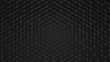 Fondo nero di tecnologia di griglia di esagono 3D, illustrazione di vettore