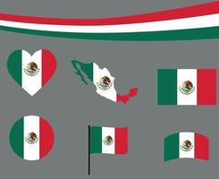 bandiera del messico mappa nastro e cuore icone illustrazione vettoriale abstract