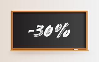 Lavagna alta dettagliata con titolo '-30%', illustrazione vettoriale