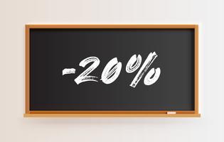 Lavagna alta dettagliata con titolo '-20%', illustrazione vettoriale