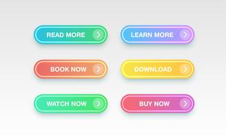 Pulsanti puliti colorati per siti Web, illustrazione vettoriale