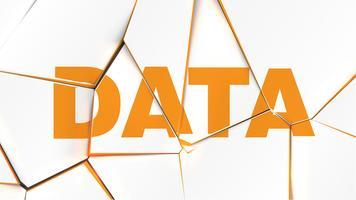 Parola di 'DATI' su una superficie bianca rotta, illustrazione vettoriale
