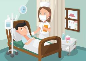 l'infermiera che si prende cura del paziente nel reparto dell'ospedale vettore