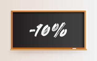 Lavagna alta dettagliata con titolo '-10%', illustrazione vettoriale