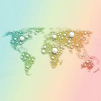 Mappa del mondo colorato fatto da palle e linee, illustrazione vettoriale
