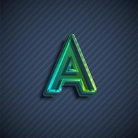 Carattere di carattere vetroso 3D, illustrazione vettoriale