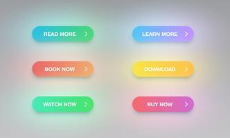Insieme variopinto del bottone per i siti Web o uso online, illustrazione di vettore
