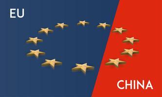 Unione europea e bandiera della Cina fusi in uno, vettore