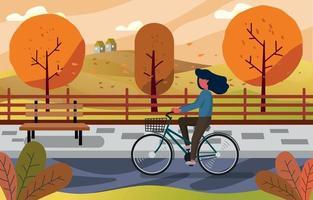 attività in bici autunnale vettore