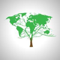 Mappa di mondo del globo su un albero, vettore