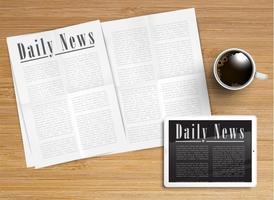 Giornale realistico con una compressa e una tazza di caffè, vettore