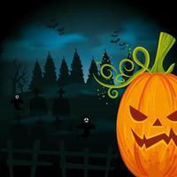 zucca di halloween con tombe nella notte oscura vettore