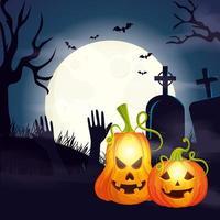 zucche nella scena del cimitero halloween vettore