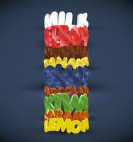 9 gusti diversi in 3D, set vettoriale