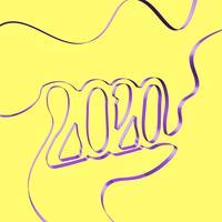 Il nastro astratto forma un anno, illustrazione di vettore