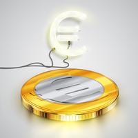 Moneta con carattere al neon, illustrazione vettoriale