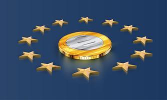 Stelle e soldi della bandiera di Unione Europea (euro), vettore