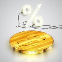 Monete realistiche con percentuale al neon, illustrazione vettoriale