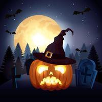 zucca con cappello strega in scena halloween vettore
