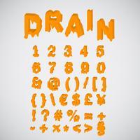 Set di caratteri arancio di fusione, vettore