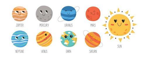 simpatici pianeti del sistema solare per bambini vettore