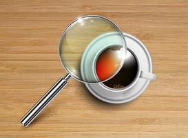 Una tazza di caffè / tè con una lente d'ingrandimento, vettore