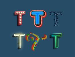 Un set di caratteri di 6 diversi font in stile, vettore