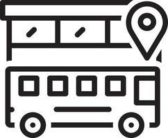 icona della linea per la posizione dell'autobus vettore