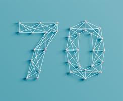 Un numero fatto da spille e linee, 3D e realistico, vettore