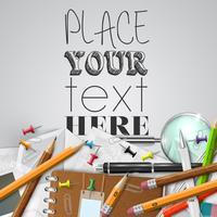 Stoffe e oggetti della scuola o dell'ufficio su fondo bianco, vettore