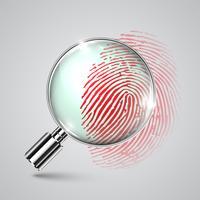 Impronta digitale e una lente d'ingrandimento, vettoriale
