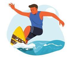 l'uomo gode di attività all'aperto con la tavola da surf. vettore