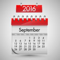 Calendario realistico con copertina rigida rossa, illustrazione vettoriale