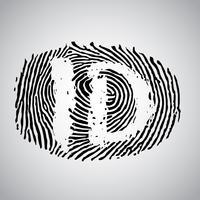 Illustrazione di impronta digitale con 'ID', vettore