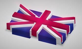 Bandiera del Regno Unito in 3D, vettoriale