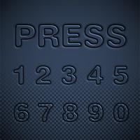 Set di caratteri premuti, illustrazione vettoriale