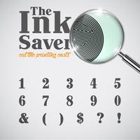 Elegante carattere di risparmio di inchiostro: meno inchiostro durante la stampa, vettore