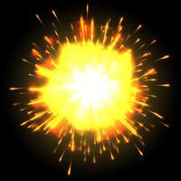 Esplosione potente su sfondo nero, vettoriale