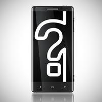 Telefono schermato nero con un punto interrogativo, vettore