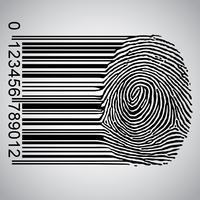 Codice a barre che diventa impronta digitale, illustrazione vettoriale